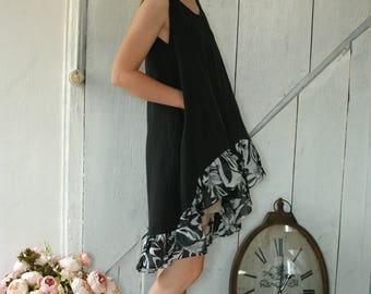 Black linen waterfall hemline tunic, with pockets