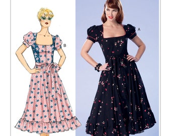 Butterick Pattern B6352 Misses'/Misses' Petite Square-Neck, Zip-Front, Ruffled Dresses and Belt