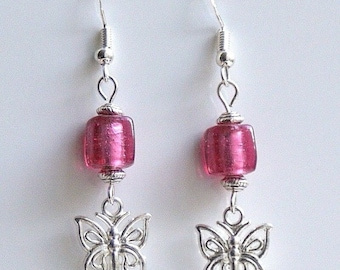 Butterfly Earrings with Purple Indian Glass Beads And Sterling Silver Hooks LB85