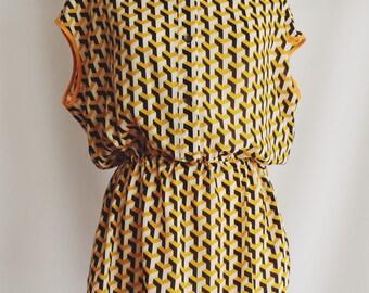 Blusa-Vestido yellow geometric