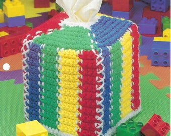 Colorful Stripes Tissue Box Cover Crochet Pattern, Home Decor, Baby Shower Gift, Nursery Decor, Kid's Room, The Needlecraft Shop