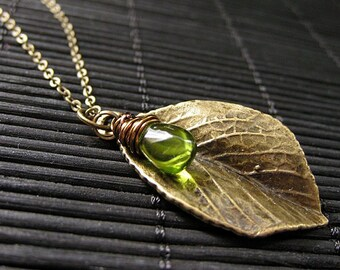 Leaf Necklace in Bronze. Leaf Charm Necklace with Wire Wrapped Glass Teardrop Charm. Handmade Jewelry.