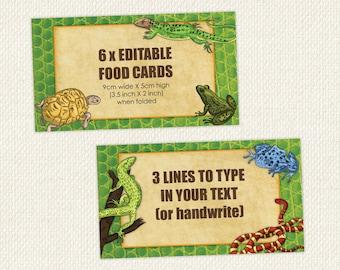 Reptile Food Labels, Reptile Food Tent, Reptile Food Signs, reptile printables, instant, editable food labels, editable food tent cards