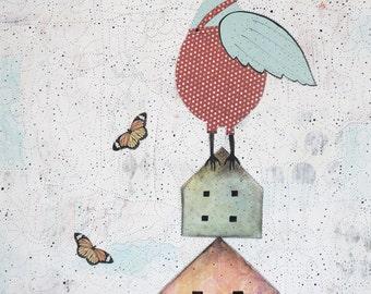 Bird Art- Original Acrylic and Collage Painting on Canvas, Modern Wall Art for your Woodland Nursery Decor