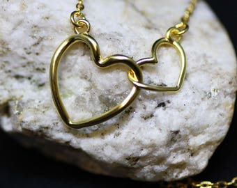 Double Heart Necklace in Yellow Gold Vermeil, Delicate, Valentine's Gift, Girlfriend Gift, Gift for Her, from Canada