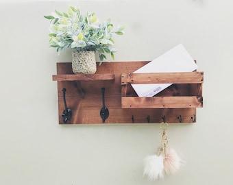 Mail Organizer , Key & Mail Holder, Rustic Organizer, Farmhouse Decor