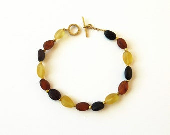Yellow Amber  Bracelet, 18K Gold, Black Amber, Baltic Amber - Handmade Fine Jewelry