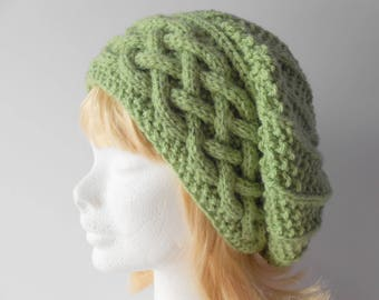 Mother's Day Gift for her Warm Winter  Hat Green Slouchy Hat Women's slouch hat Cable Band Slouchy Hat Trendy winter hat Irish knit Hat