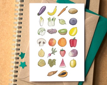 Fruit and Vegetable Alphabet Greetings Card - fruit and veg alphabet - food alphabet - fruit alphabet - card for foodie - card for chef