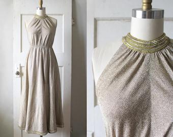 Vintage 1970s Gold and Silver Lurex Dress / 70s Metallic Studded Grecian Gown / Venus Dress