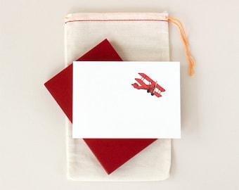 Red Biplane Notecard Set