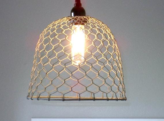 Rustic Pendant Lighting-chicken wire farmhouse pendant