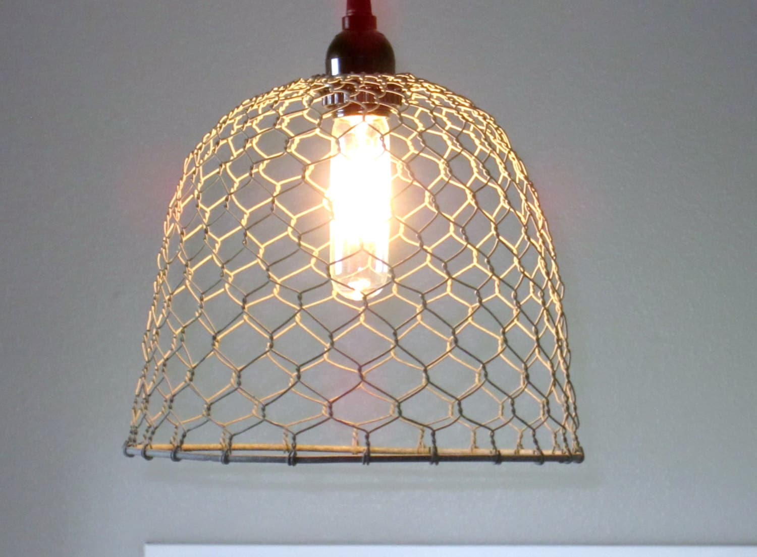 Rustic pendant lighting chicken wire farmhouse pendant zoom mozeypictures Image collections