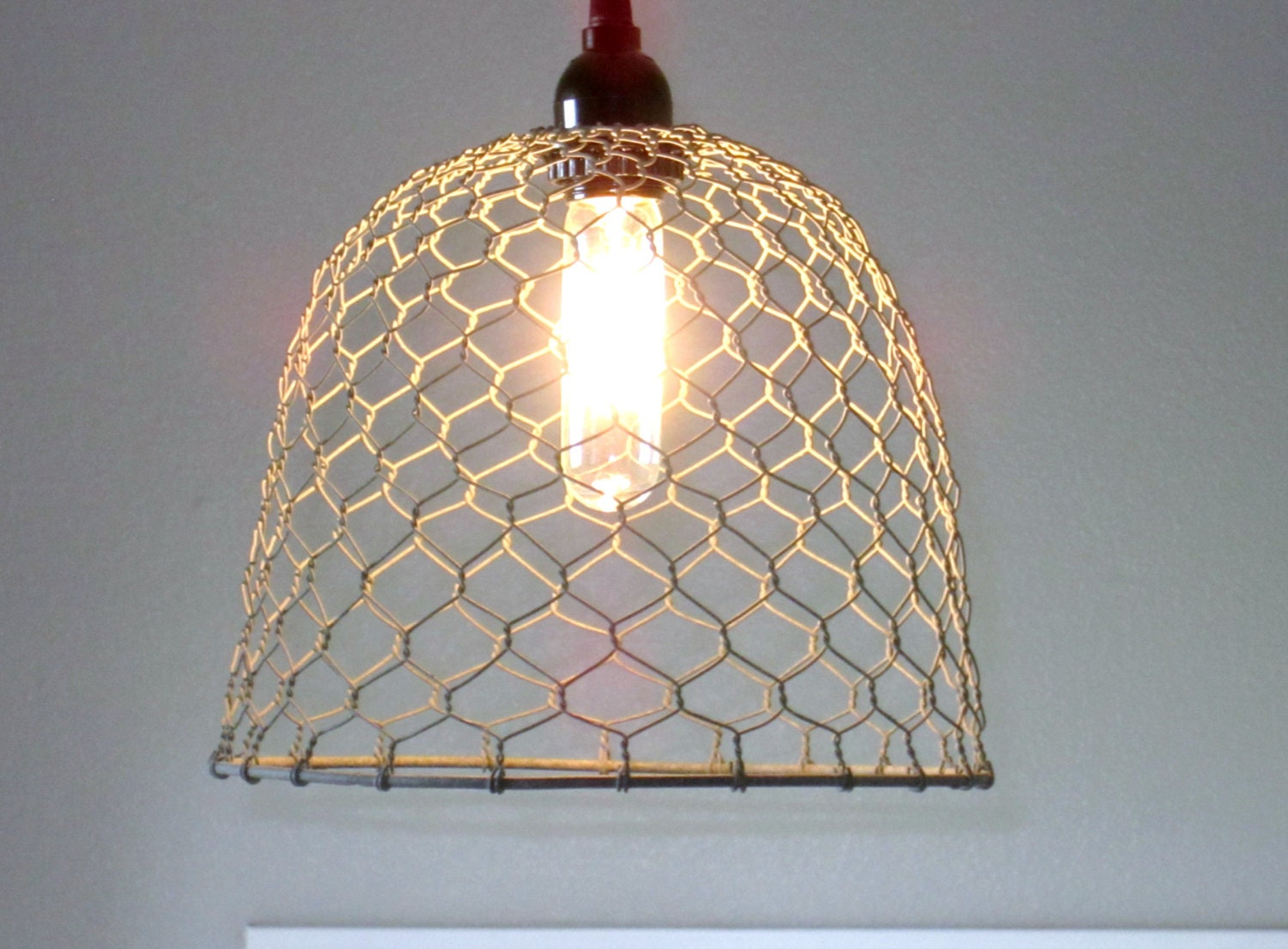 Rustic pendant lighting chicken wire farmhouse pendant zoom aloadofball Gallery