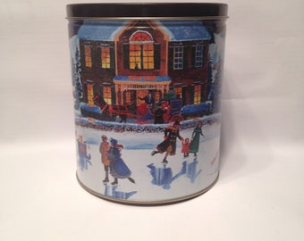 Ice Skating - Snow Scene Tin