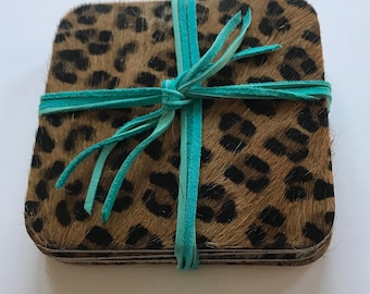 Square cowhide or leather coasters