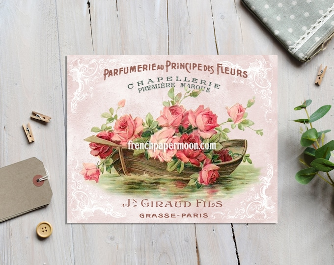Vintage Digital Roses, Shabby Boat of Roses, Postcard Printable, French Pillow Image, Crafts, Large Image Graphic Transfer