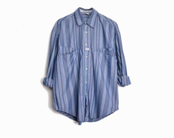 Vintage 90s Marithé + François Girbaud Shirt / Men's Striped Blue Chambray Shirt with Asymmetrical Pockets - men's small