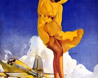 Sale ELVGREN   Tail Wind  Aviation Pin-Up Glamour Dress Stockings Art deco Lingerie WWII 1940's Nose Art Pinup