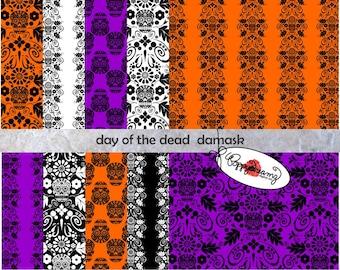 Day of the Dead Sugar Skull Damask: Digital Scrapbook Paper Pack (300 dpi) 10 digital papers Dia de los Muertos Halloween