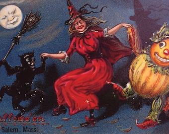 Halloween, reproduction vintage postcard