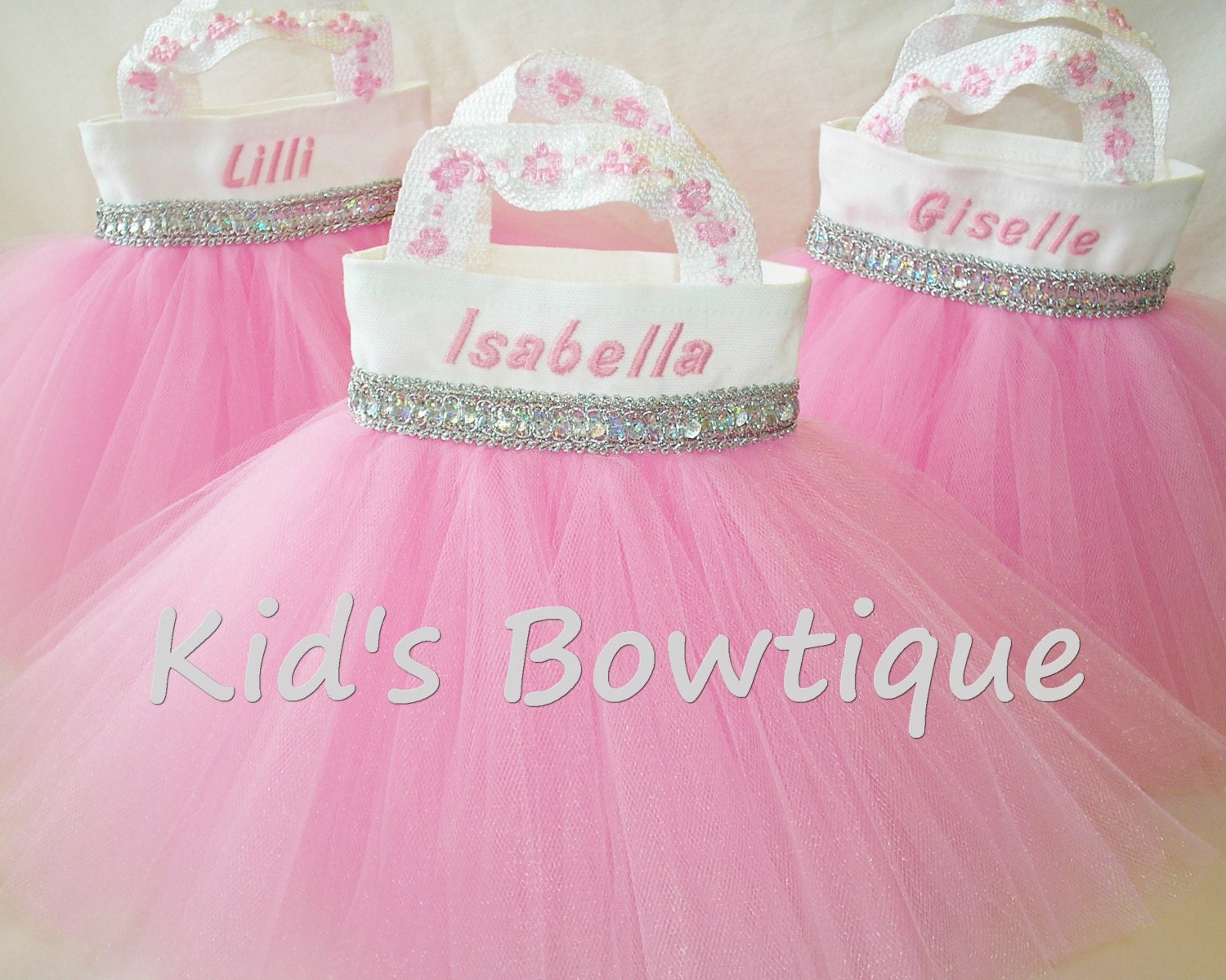 2 personalized flower girl purses tutu gift bags baby pink zoom negle Image collections