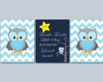 Owl  Nursery Wall Art,Owl Wall Art,Twinkle Twinkle Nursery Wall Art,Owl Kids Room Wall Art,Owl Nursery Decor,Owl Baby Gift-UNFRAMED 3 -C236
