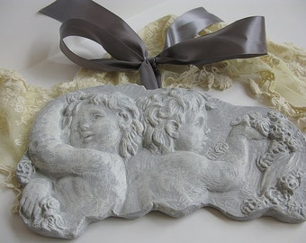 Cherubs Wall Plaque Paris Grey Angels Satin Ribbon Trim Shabby Chic Cottage French Farmhouse Vintage Decor