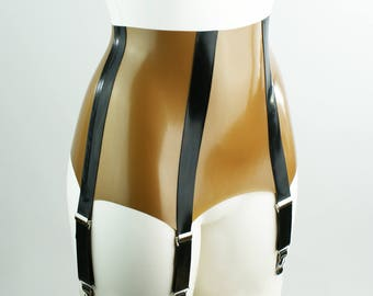 High Waisted Latex Suspender Belt