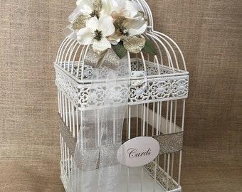 Pick Your Flower and Ribbon, Wedding Birdcage Card Holder, Vintage Style Bird Cage, Money Holder, Card Box, Wedding Birdcage