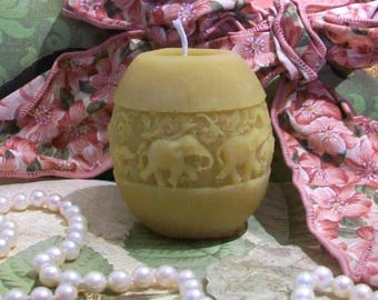 "Beeswax Elephant Candle Smaller Size 2 1/2"" Tall"