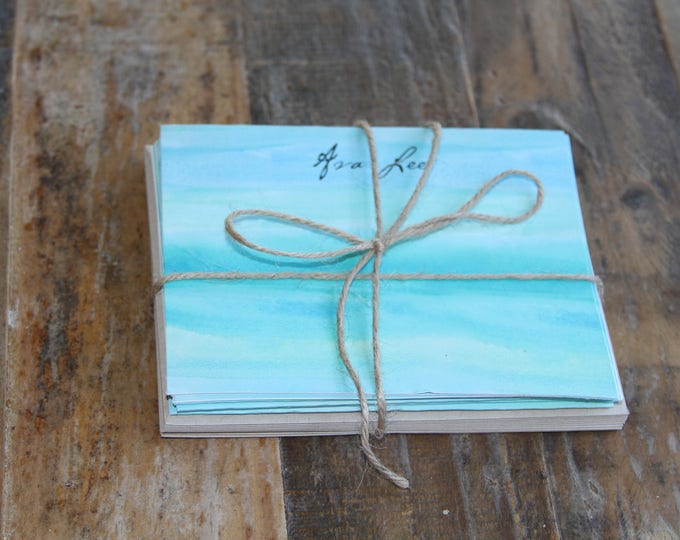 Watercolor Note Cards, blue