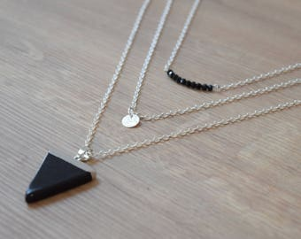 Silver multi strand triangle necklace