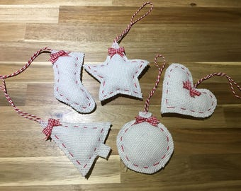 Handmade Hessian Christmas tree decorations, ornaments, handmade.