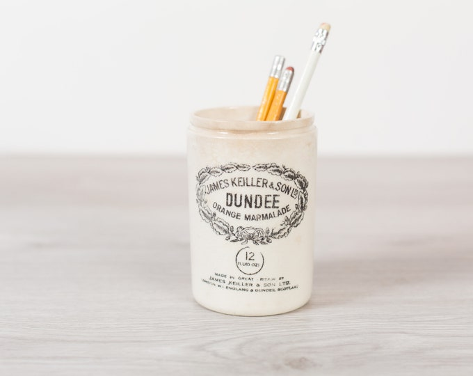 Antique Ceramic Marmalade Jar -James Keiller and Son Dundee Orange Marmalade Canister - Pencil Holder  - Utensil Storage