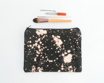 Bleach Dye Black Canvas Makeup Bag - Zipper Pouch - Bleach Dye - Back to School Supplies