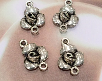 Rose Silver Connector Charm - 4 pieces-(Antique silver Finish)-