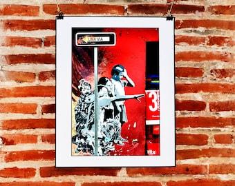 Guatemalan Street Art Digital Print, Red Urban Wall Art, Printable Graffiti Download, Red Wall Decor, Latin American, Travel Photography