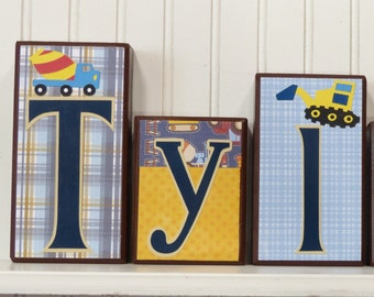 Baby Boy Name Blocks Home Decor Tractor Boy Construction bedroom Decor Boy nursery Decor Wood Name Block Dump Truck Nursery Decor Home Decor