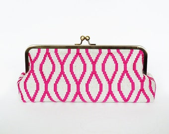 Clutch bag, geometric fabric, pink and beige embroidered geometric linen fabric, evening purse