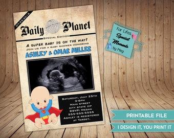 Superman Daily Plant News Paper Style Super Hero Baby Shower Invitations - It's a Boy Super Hero Comics - Superman