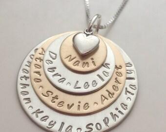 De la mère grand-mère jour cadeau 4 couche grand-mère Collier - Necklace grand-mère - collier Nani - personnalisé - nom de bijoux