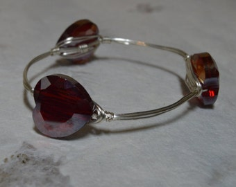 Red Heart Crystal Bangle/Bracelet (BA-12)