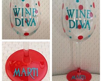 Diva Wine Glass - Wine DIva - Personalized Wine Glass - Custom Wine Glass - Wine Glass Gift