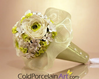 Ranunculus Bridesmaid Bouquet - Cold Porcelain Art - Made to Order