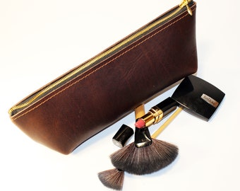 Large Leather Makeup Pouch, Leather Cosmetic Bag, Brown Leather Pouch, Leather Clutch, Small Leather Pouch!
