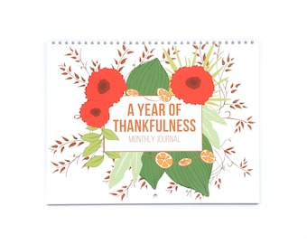 Thankful Journal, Gratitude Journal, Bullet Journal, Perpetual Calendar, Adult Coloring Pages, A Year of Thankfulness, Daily Journal