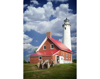 Tawas Point Lighthouse by the shore on Lake Huron in Eastern Michigan No.0007 A Lighthouse Seascape Photograph