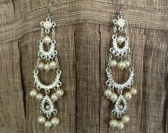 Bridal chandelier earrings, Wedding earrings, VIntage Liz Clairborne, wedding jewelry, Vintage earrings, Bridal jewelry
