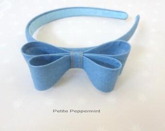 Light Blue Denim Baby headband, toddler hard headband, girl headband, girl plastic headband,girl head band, girl hair band, girl hair bow